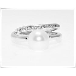 Sortija perla y diamantes