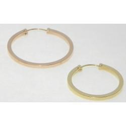 Aros de oro tubo cuadrado