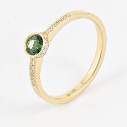 Sortija oro topacio verde